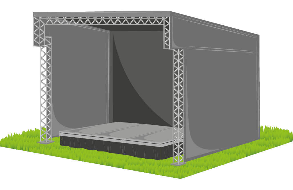 3 meter by 2 meter Outdoor Stage Hire From AYRE Event Solutions