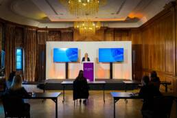Hybrid event equipment including camera, lighting and screens provided for a conference at York Grand Hotel
