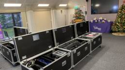 Image of flightcase's at St Gemma's Hospice for the Light Up A Life Event 2020